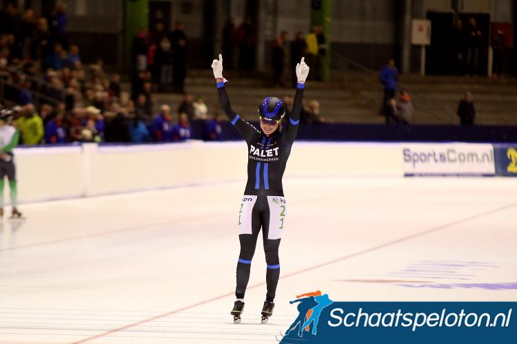 Jade van der Molen won vorig seizoen in de kleuren van Palet Schilderwerken haar tot nu toe enige overwinning in het marathonschaatsen.