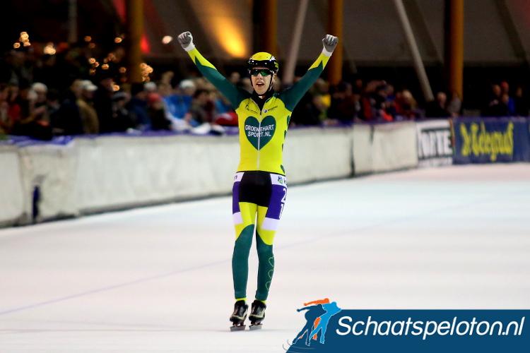 Niels Overvoorde mocht in Eindhoven juichen als winnaar van de KPN Marathon Cup 13.