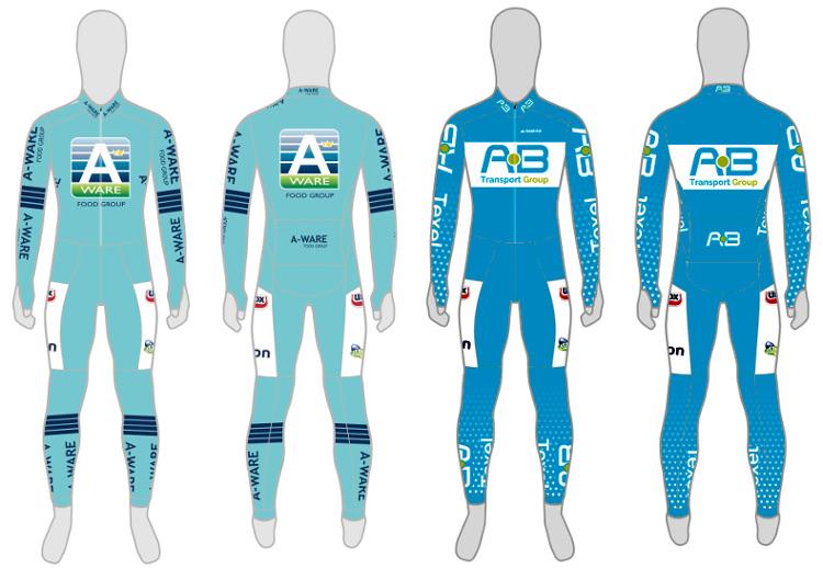 De pakken waarmee Team A-ware en Team AB Transport Group in het nieuwe seizoen gekleed zullen gaan.